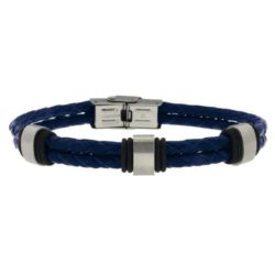 Blue Leather Bracelet with Steel Clasp