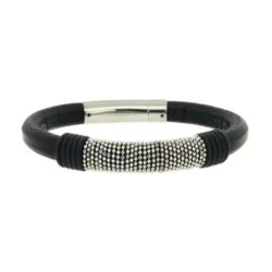 Black Leather and Steel Chain Bracelet