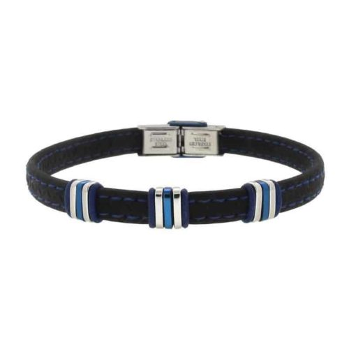 Mens Bracelet with Rubber, Steel and Blue Pvd