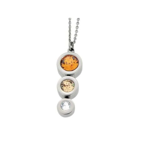 Stainless Steel Necklace with Coloured Stones