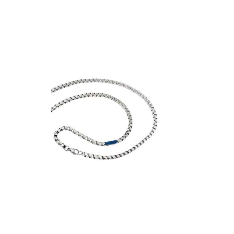 Stainless Steel Necklace with Blue PVD Insert