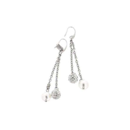 Stainless Steel White Pearl Earrings