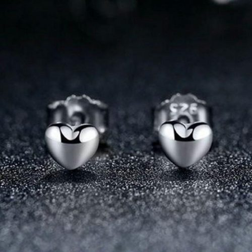 Petite Plain Hearts Stud Earrings