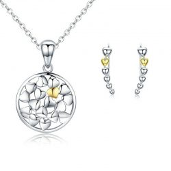 Love Forever Heart Necklace and Earrings Set
