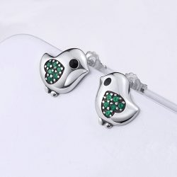 Green Little Bird Heart Earrings