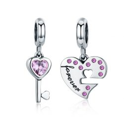 Heart and Key Charm