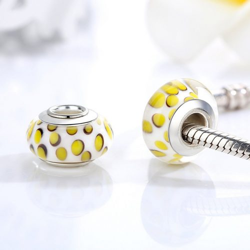 White and Yellow Spotted Bead Charm