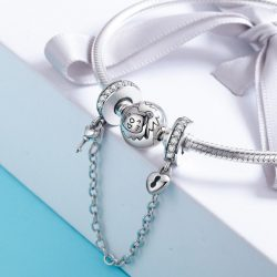 Heart and Key Charm Safety Chain