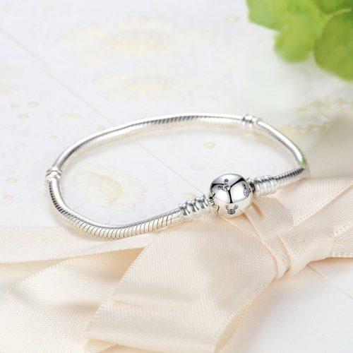 Round Sparkling Ball Snake Chain Charm Bracelet