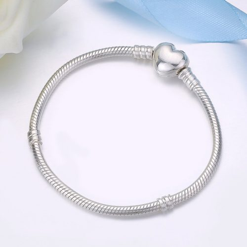 Heart Snake Chain Love Heart Charm Bracelet