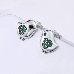 Green Little Bird Stud Earrings