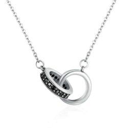 Circle In Circle Black Pendant Necklace