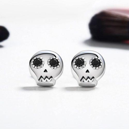 Silver Skull Stud Earrings