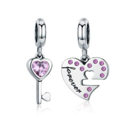 Forever Heart and Key Charm