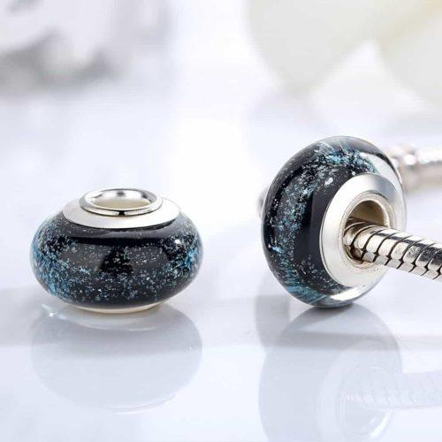 Black Murano Glass Bead Charm
