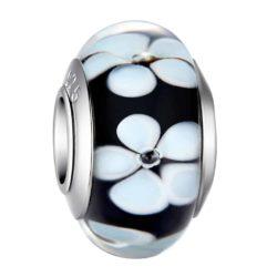 Black Flower Glass Bead Charm