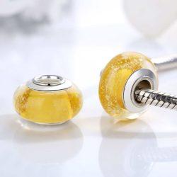 Yellow Murano Glass Bead Charm