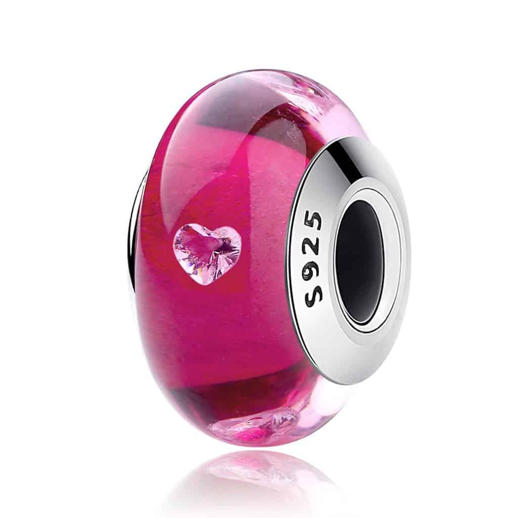 Pink Glass Bead Charm