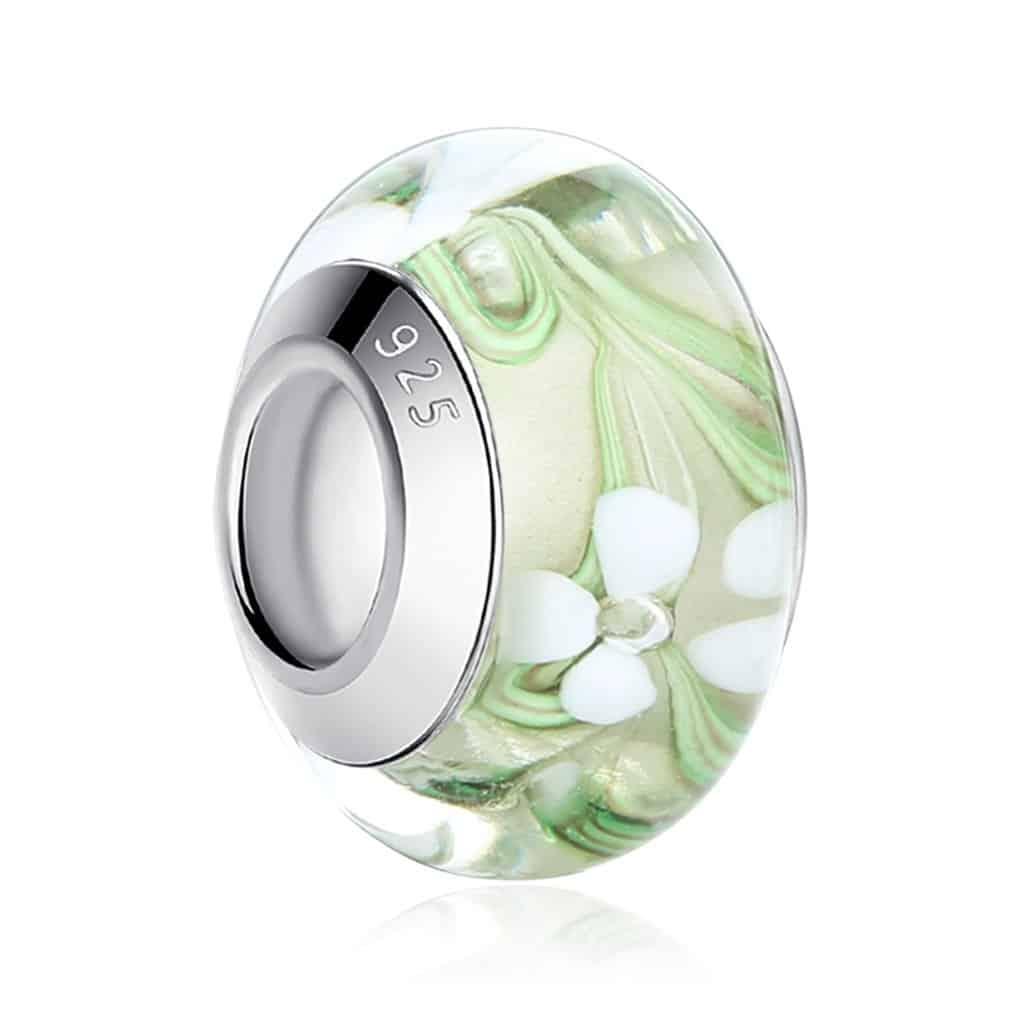 White Flower Glass Bead Charm
