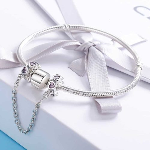 Pink Heart Charm Safety Chain