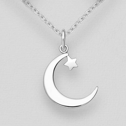 Silver Moon & Star Pendant