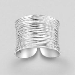 Silver Patterned Adjustable Ring