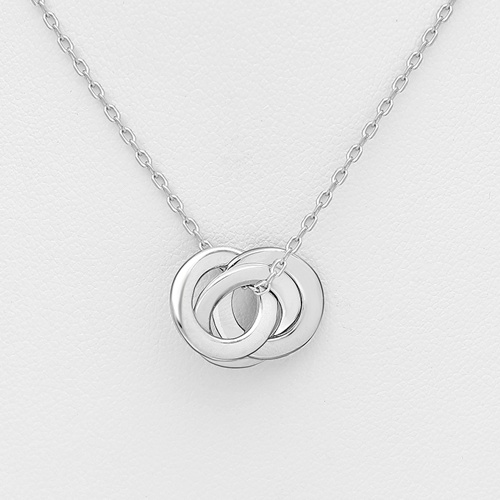 Silver Circle and Links Necklace