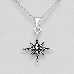 Silver Oxidized Star Pendant