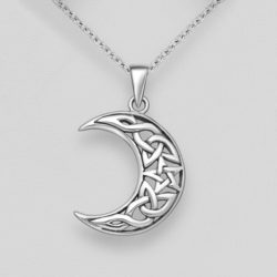 Silver Celtic Moon & Star Pendant