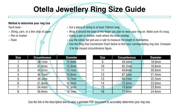 Otella Jewellery Ring Size Guide